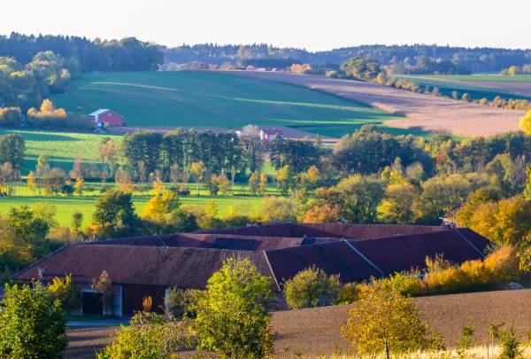 Landschaft mit großem Bauernhof und Wiese