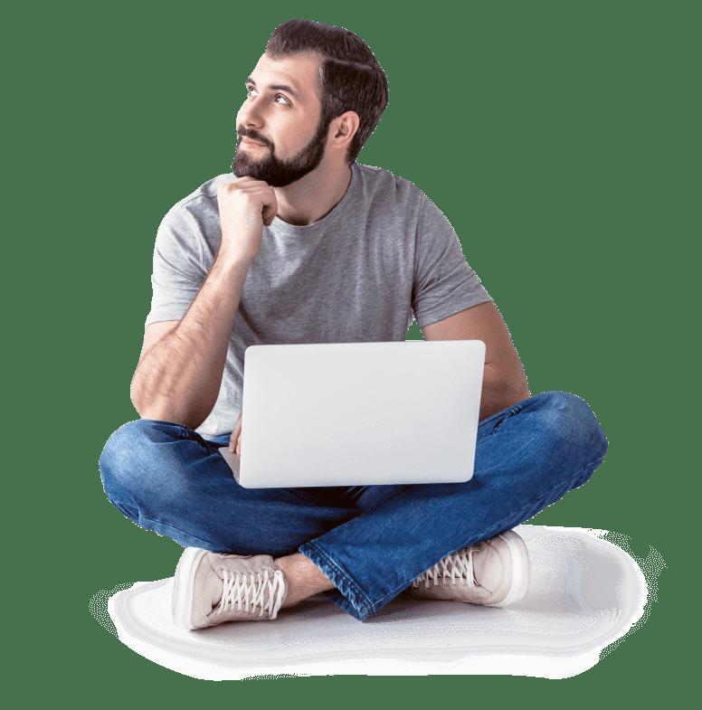 Antares Netlogix - Denkender Mann ohne Hintergrund