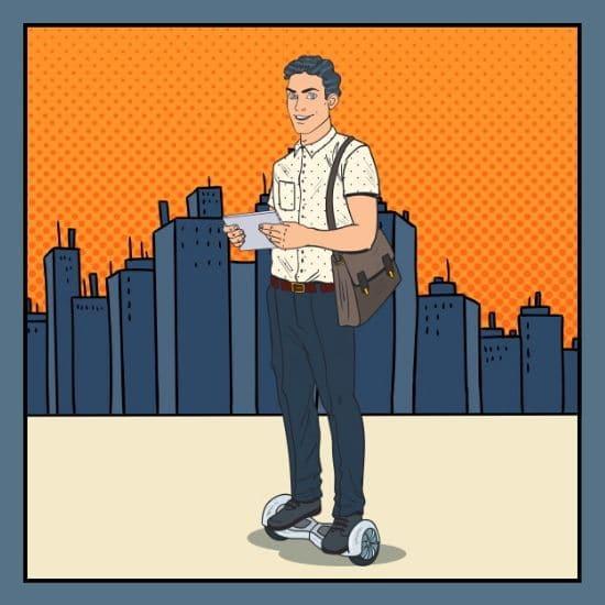 Man in einer Stadt vor Wolkenkratzer