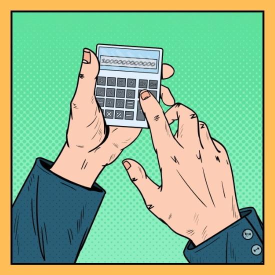 Hände halten einen Taschenrechner