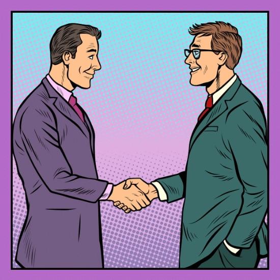 Zwei Geschäftsmänner die zusammenkommen um über das IT Recruiting zu reden