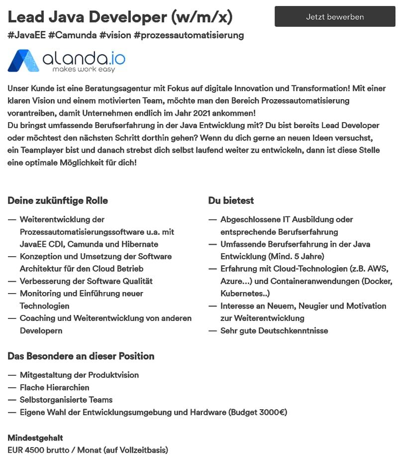 Herkömmliche Stellenanzeige von alanda.io
